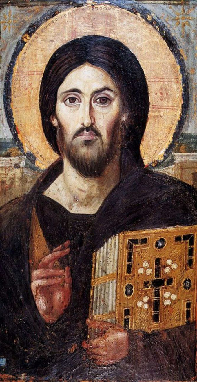 Christ the Saviour (Pantokrator), a sixth-century encaustic icon from Saint Catherine's Monastery, Mount Sinai.