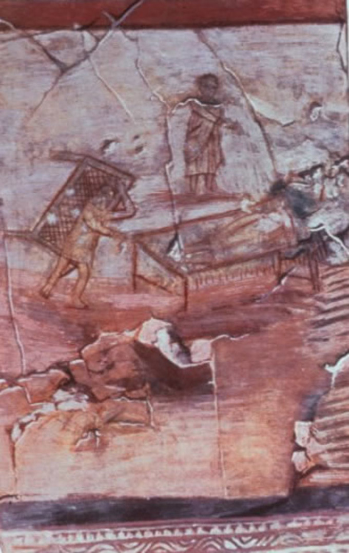 Church at Dura Europos, ca. 235 CE; depiction of Jesus healing the paralytic. Marsyas
