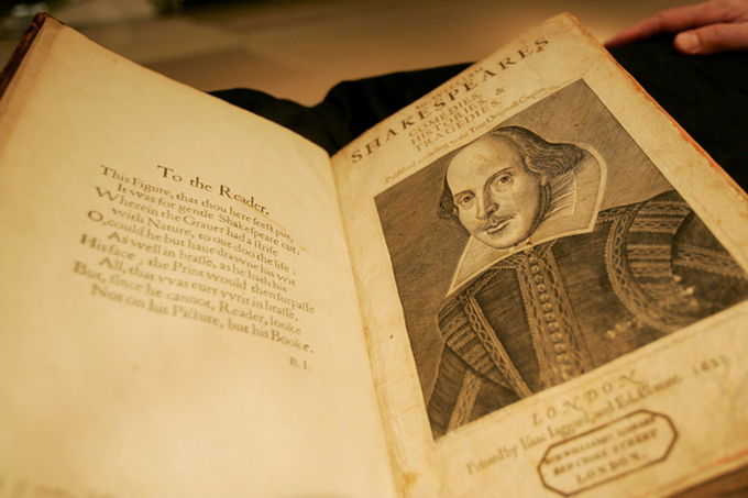 Shakespeare first collected edition of Poems sits on display at Sotheby's auction house in New York