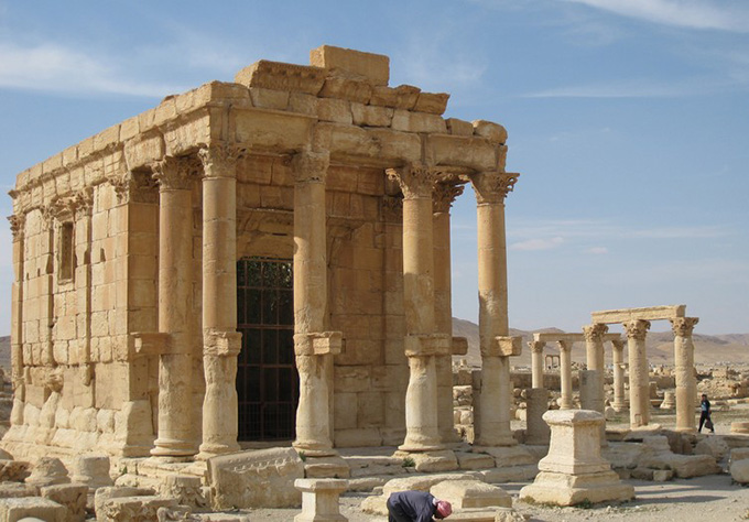 Temple of Baalshamin, destroyed by IS in August 2015. Judith McKenzie/Manar al-Athar. April 13 2010