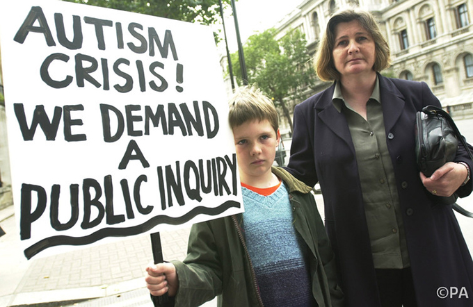 Anti-MMR vaccine campaigners hand in a petition to prime minister Tony Blair, September 2002. Matthew Fearn/PA
