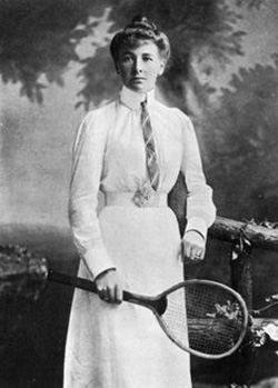 English tennis player Charlotte Cooper, who, in 1900, became the first female Olympic champion. Wikimedia Commons