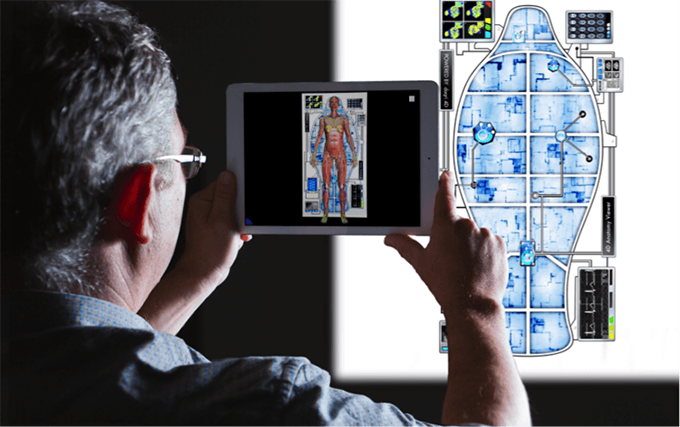 Using an Augmented Reality application on a mobile device to be able to examine the inter-relationships between different systems in the human body. Greg Ford, Author provided