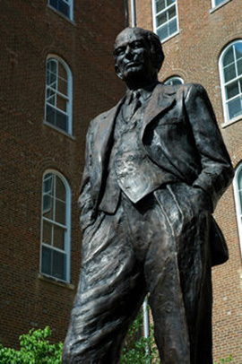 A statue of Senator William Fulbright at the University of Arkansas. Clinton Steeds