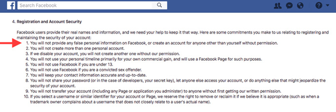 Facebook's Terms of Service include provisions raising privacy concerns. Screenshot of Facebook.com