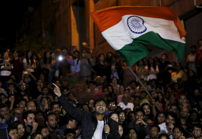 JNU student union leader Kanhaiya Kumar speaks on campus after he is released on bail on March 3 2016. Adnan Abidi/Reuters